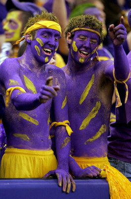 NEW ORLEANS - JANUARY 03:  LSU fan's Blake Brignac (L) and James Carroll (R) cheer for their team prior to the start between Notre Dame and LSU in the 2007 Allstate Sugar Bowl on January 3, 2007 at the Superdome in New Orleans, Louisiana.  (Photo by Matth