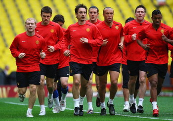 MOSCOW - MAY 20:  The Manchester United squad warm up during the Manchester United training session ahead of the Champions League Final at the Luzhniki Stadium on May 20, 2008 in Moscow, Russia. The Champions League Final will take place in Moscow on May