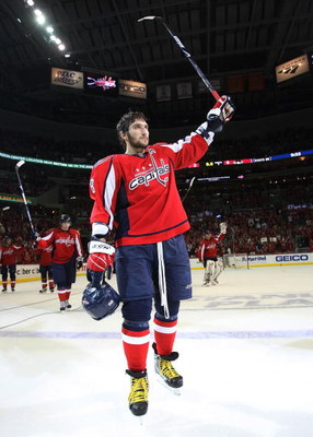 WASHINGTON - MAY 13: Alex Ovechkin #8 of the Washington Capitals leaves the ice following a 6-2 loss to the Pittsburgh Penguins in Game Seven of the Eastern Conference Semifinal Round of the 2009 Stanley Cup Playoffs at Verizon Center May 13, 2009 in Wash