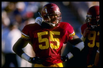 4 Sep 1993:  Linebacker Willie McGinest of the USC Trojans stands on the field during a game against the Houston Cougars at the Los Angeles Memorial Coliseum in Los Angeles, California.  USC won the game 49-7. Mandatory Credit: Stephen Dunn  /Allsport
