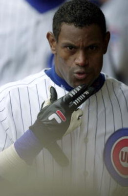 6 Jun 2001: Outfielder Sammy Sosa of the Chicago Cubs blows a kiss to the TV camera after hitting his 17th home run of the season as the Cubs defeat the St. Louis Cardinals 4-1 in game 2 of a three game series at Wrigley Field in Chicago, Illinois. DIGITA