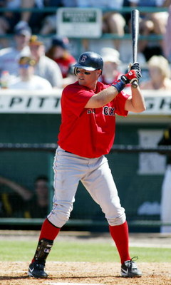 BRADENTON, FL. - MARCH 11, 2006:  J.T. Snow #84 of the Boston Red Sox bats during the game against the Pittsburgh Pirates on March 11, 2006 at McKechnie Field in Bradenton, Florida. (Photo by Rick Stewart/Getty Images)