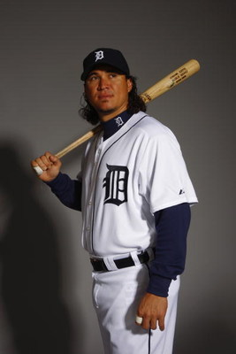 LAKELAND, FL - FEBRUARY 23:  Magglio Ordonez of the Detroit Tigers poses for a portrait during Photo Day on February 23, 2008 at Joker Marchant Stadium in Lakeland, Florida. (Photo by: Nick Laham/Getty Images) 