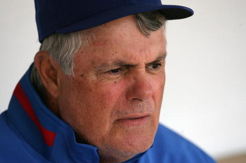 CHICAGO - MAY 2:  Manager Lou Piniella of the Chicago Cubs looks on during the game against the Florida Marlins on May 2, 2009 at Wrigley Field in Chicago, Illinois. (Photo by Jonathan Daniel/Getty Images)