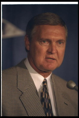 10 Nov 1994:  Former Los Angeles Lakers head coach Jerry West looks on during James Worthy''s retirement ceremony.  Mandatory Credit: Al Bello/Allsport