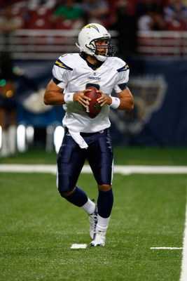 ST. LOUIS, MO - AUGUST 16: Quarterback Charlie Whitehurst #6 of the San Diego Chargers drops back to pass the football against the St. Louis Rams at the Edward Jones Dome on August 16, 2008 in St. Louis Missouri. The Rams defeated the Chargers 7-6. (Photo