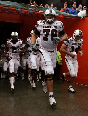 GAINESVILLE, FL - NOVEMBER 15:  Offensive lineman Justin Sorensen #78 of the South Carolina Gamecocks leads his team out of the tunnel before facing the Florida Gators at Ben Hill Griffin Stadium on November 15, 2008 in Gainesville, Florida. Florida defea