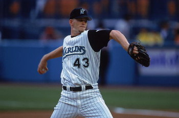 3 Jun 2001:  A.J. Burnett #43 of the Florida Marlins winds up during the game against the New York Mets at the Pro Players Stadium in Miami, Florida.  The Marlins defeated the Mets 1-0.Mandatory Credit: Eliot Schechter  /Allsport