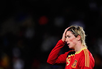 BLOEMFONTEIN, SOUTH AFRICA - JUNE 24:  Fernando Torres of Spain shows his despair as his team is knocked out of the competition following their 2:0 defeat by USA in the FIFA Confederations Cup Semi Final match at Free State Stadium on June 24, 2009 in Blo