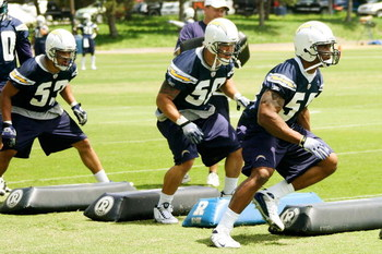 SAN DIEGO - MAY 03: Linebackers James Holt #53, Anthony Fielder #58 and Larry English #52 of the San Diego Chargers participate in a practice drill during minicamp at the Chargers training facility on May 3, 2009 in San Diego, California. (Photo by Kevin