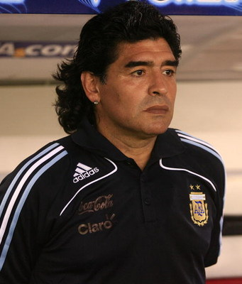 BUENOS AIRES, BUENOS AIRES - MARCH 28: Argentine manager Diego Maradona looks on during the 2010 FIFA World Cup South African qualifier match between Argentina and Venezuela at River Plate Stadium on March 28, 2009 in Buenos Aires, Argentina. (Photo by Ph