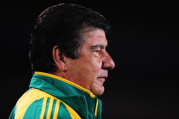 JOHANNESBURG, SOUTH AFRICA - JUNE 25:  South Africa Coach Joel Santana looks on during the FIFA Confederations Cup Semi Final match beween Brazil and South Africa at Ellis Park on June 25, 2009 in Johannesburg, South Africa.  (Photo by Laurence Griffiths/