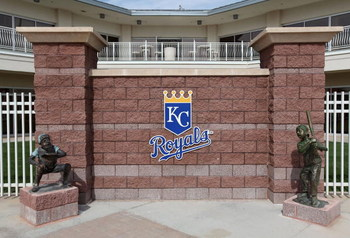 SURPRISE, AZ - MARCH 04: The Kansas City Royals logo is seen outside of the team offices before the spring training game against the Texas Rangers at Surprise Stadium on March 4, 2009 in Surprise, Arizona.  (Photo by Christian Petersen/Getty Images)