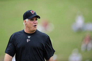 FLOWERY BRANCH, GA - MAY 9: Head coach Mike Smith of the Atlanta Falcons during minicamp at the Falcons Complex on May 9, 2009 in Flowery Branch, Georgia. (Paul Abell/Getty Images)