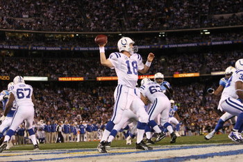 SAN DIEGO - JANUARY 03:  Quarterback Peyton Manning #18 of the Indianapolis Colts drops back to pass out of his end zone during the AFC Wild Card Game against the San Diego Chargers on January 3, 2009 at Qualcomm Stadium in San Diego, California.  (Photo