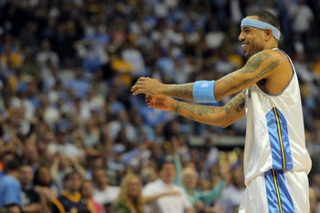 DENVER - MAY 25:  Kenyon Martin #4 of the Denver Nuggets reacts in the fourth quarter against the Los Angeles Lakers in Game Four of the Western Conference Finals during the 2009 NBA Playoffs at Pepsi Center on May 25, 2009 in Denver, Colorado. The Nugget