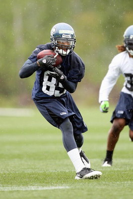 RENTON, WA - MAY 2:  Deon Butler #85 of the Seattle Seahawks catches a pass during minicamp at the Seahawks training facility on May 2, 2009 in Renton, Washington. (Photo by Otto Greule Jr/Getty Images)