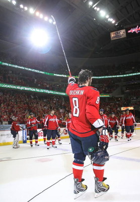 WASHINGTON - MAY 13: Alex Ovechkin #8 of the Washington Capitals leaves the ice following a 6-2 loss to the Pittsburgh Penguins in Game Seven of the Eastern Conference Semifinal  Round of the 2009 Stanley Cup Playoffs at Verizon Center on May 13, 2009 in