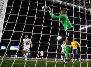 JOHANNESBURG, SOUTH AFRICA - JUNE 28:  Tim Howard of USA saves a header from Kaka of Brazil on the line during the FIFA Confederations Cup Final between USA and Brazil at the Ellis Park Stadium on June 28, 2009 in Johannesburg, South Africa.  (Photo by Al