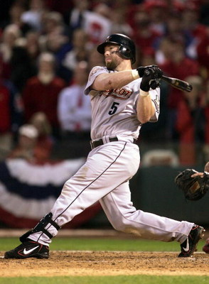 ST. LOUIS - OCTOBER 20:  Jeff Bagwell #5 of the Houston Astros hits a single to bring in the game-tying run in the ninth inning of Game 6 of the National League Championship Series against the St. Louis Cardinals during the 2004 Major League Baseball Play