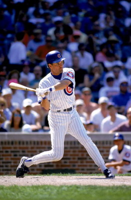 CHICAGO - JULY 5:  Ryne Sandberg #23 of the Chicago Cubs bats during the game against the Cincinnati Reds at Wrigley Field on July 5, 1996 in Chicago, Illinois. The Reds defeated the Cubs 3-0.  (Photo by Jonathan Daniel/Getty Images)