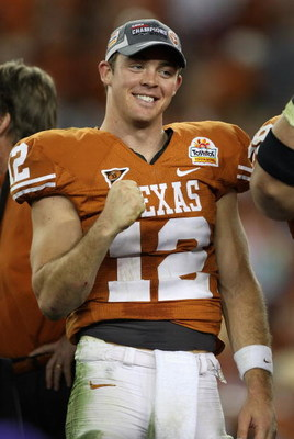 GLENDALE, AZ - JANUARY 05:  Quarterback Colt McCoy #12 of the Texas Longhorns celebrates after defeating the Ohio State Buckeyes in the Tostitos Fiesta Bowl Game on January 5, 2009 at University of Phoenix Stadium in Glendale, Arizona. The Longhorns defea