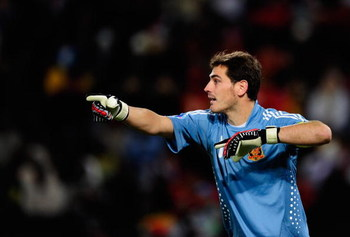 BLOEMFONTEIN, SOUTH AFRICA - JUNE 24:  Goalkeeper Iker Casillas of Spain signals during the FIFA Confederations Cup Semi Final match between Spain and USA at Free State Stadium on June 24, 2009 in Bloemfontein, South Africa.  (Photo by Jamie McDonald/Gett