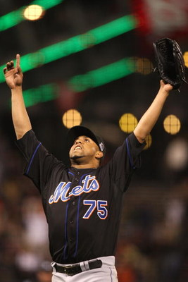SAN FRANCISCO - MAY 14:  Francisco Rodriguez  #75 of the New York Mets celebrates after defeating the San Francisco Giants during a Major League Baseball game on May14, 2009 at AT&T Park in San Francisco, California.  (Photo by Jed Jacobsohn/Getty Images)