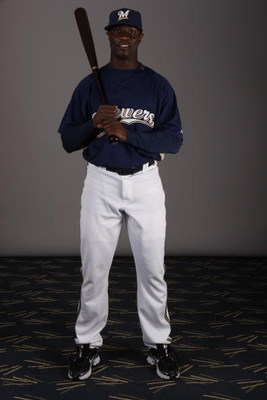MARYVALE, AZ - FEBRUARY 26:  Mike Cameron #25  poses for a photo during the Milwaukee Brewers Spring Training Photo Day at Maryvale Baseball Park on February 26, 2008 in Maryvale, Arizona.  (Photo by Chris Graythen/Getty Images)