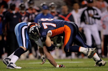 DENVER - NOVEMBER 19:  Offensive tackle Matt Lepsis #78 of the Denver Broncos blocks against the Tennessee Titans at Invesco Field at Mile High on November 19, 2007 in Denver, Colorado.  (Photo by Doug Pensinger/Getty Images)