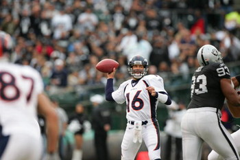 OAKLAND, CA - NOVEMBER 12:  Quarterback Jake Plummer #16 of the Denver Broncos throws a pass against the Oakland Raiders at McAfee Coliseum on November 12, 2006 in Oakland, California. The Broncos defeated the Raiders 17-13. (Photo by Jed Jacobsohn/Getty
