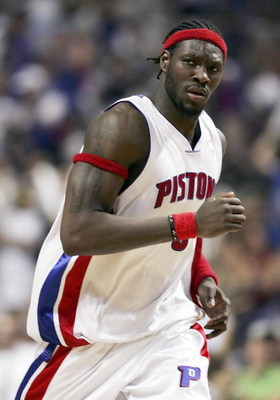 AUBURN HILLS, MI - MAY 31:  Ben Wallace #3 of the Detroit Pistons runs during a game against the Miami Heat in game five of the Eastern Conference Finals during the 2006 NBA Playoffs on May 31, 2006 at the Palace of Auburn Hills in Auburn Hills, Michigan.