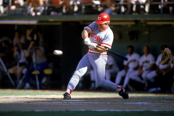 1985:  Pete Rose of the Cincinnati Reds swings at the pitch during a MLB game in the 1985 season. ( Photo by: Stephen Dunn/Getty Images)