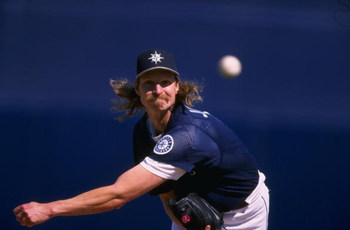 26 Feb 1998: Randy Johnson #51 of the Seattle Mariners pitching during the spring training game between the Seattle Mariners and the San Diego Padres at the Peoria Stadium in Peoria, Arizona. The Seattle Mariners lost to the San Diego Padres 0-8.