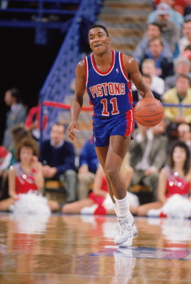 1988:  Isiah Thomas #11 of the Detroit Pistons advances the ball during a game in the 1988-1989 NBA season. (Photo by Otto Greule/Getty Images)