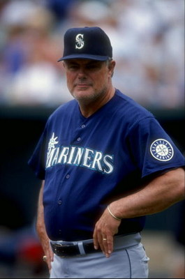 26 Jul 1998:  Manager Lou Pinella #14 of the Seattle Mariners looks on during a game against the Baltimore Orioles at the Camden Yards in Baltimore, Maryland. The Mariners defeated the Orioles 10-4. Mandatory Credit: Doug Pensinger  /Allsport