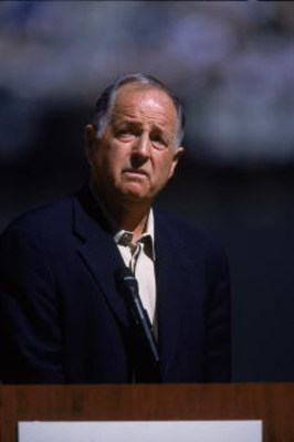 9 Sep 2001:   General Manager Pat Gillick of the Seattle Mariners talking to the fans before the game against the Baltimore Orioles at Safeco Field in Seatte, Washington. The Mariners defeated the Orioles 6-0.Mandatory Credit: Otto Greule  /Allsport