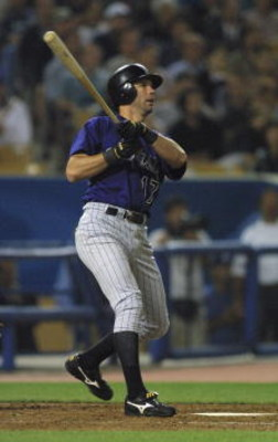 30 May 2001:  Todd Helton #17 of the Colorado Rockies watches his home run sail out of the park against the Los Angeles Dodgers at Dodger Stadium in Los Angeles, California.  DIGITAL IMAGE Mandatory Credit: Jeff Gross/ALLSPORT