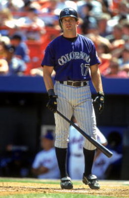 17 Aug 2000: Todd Helton #17 of the Colorado Rockies walks to the plate as he looks to the stands during the game against the New York Mets at Shea Stadium in Flushing, New York. The Mets defeated the Rockies 2-1.Mandatory Credit: Jamie Squire  /Allsport