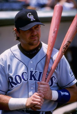 20 Jul 1997:  Larry Walker of the Colorado Rockies during the Rockies 9-5 win over the Chicago Cubs at Wrigley Field in Chicago, Illinois. Mandatory Credit: Jonathan Daniel  /Allsport