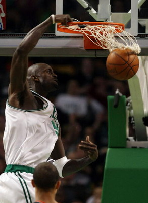 BOSTON - DECEMBER 05:  Kevin Garnett #5 of the Boston Celtics dunks the ball in the second half against the Portland Trail Blazers on December 5, 2008 at TD Banknorth Garden in Boston, Massachusetts. The Celtics defeated the Trail Blazers 93-78.  NOTE TO