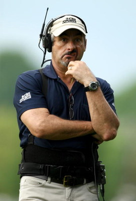 CHARLOTTE, NC - MAY 02:  David Feherty the CBS commentator pulls a face after during the third round of the Quail Hollow Championship at Quail Hollow Golf Club on May 2, 2009 in Charlotte, North Carolina.  (Photo by Richard Heathcote/Getty Images)