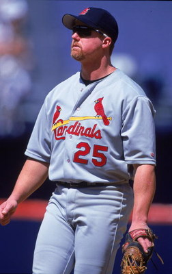 13 Jun 2000:  Mark McGwire #25 of the St Louis Cardinals watches the action during the game against the San Diego Padres at Qualcomm Stadium in San Diego, California.  The Cardinals defeated the Padres 8-3.Mandatory Credit: Tom Hauck  /Allsport