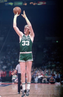 UNDATED:  BOSTON CELTICS FOWARD LARRY BIRD SHOOTS A JUMP SHOT DURING AN NBA GAME. Mandatory Credit: Allsport/ALLSPORT