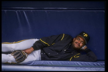 27 May 1992: Second baseman Jose (Chico) Lind of the Pittsburgh Pirates reclines happily on the bench during a game against the San Diego Padres at Jack Murphy Stadium in San Diego, California.
