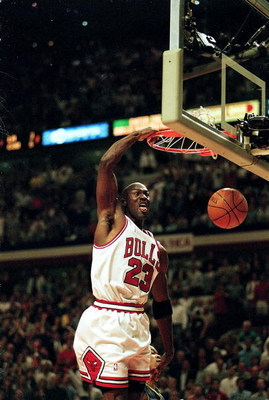 19 May 1998: Michael Jordan #23 of the Chicago Bulls dunks the ball during a Eastern Conference Finals game against the Indiana Pacers at the United Center in Chicago, Illinois. The Bulls defeated the Pacers 104- 98.