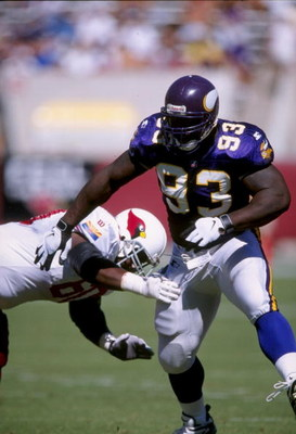 5 Oct 1997:  Defensive lineman John Randle of the Minnesota Vikings gets blocked during a game against the Arizona Cardinals at Sun Devil Stadium in Tempe, Arizona.  The Vikings won the game, 20-19. Mandatory Credit: Stephen Dunn  /Allsport