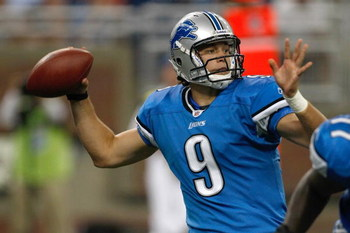 DETROIT, MI - AUGUST 15: Quarterback Matthew Stafford #9 of the Detroit Lions passes the football against the Atlanta Falcons at Ford Field on August 15, 2009 in Detroit, Michigan. The Lions defeated the Falcons 27-26. (Photo by Scott Boehm/Getty Images)