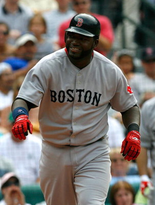 ATLANTA - JUNE 27:  David Ortiz #34 of the Boston Red Sox smiles after earning a walk against the Atlanta Braves at Turner Field on June 27, 2009 in Atlanta, Georgia.  (Photo by Kevin C. Cox/Getty Images)