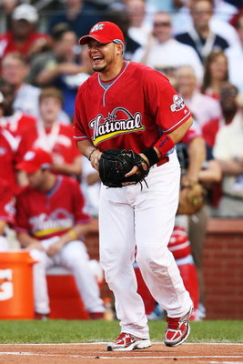 ST LOUIS, MO - JULY 13:  National League All-Star Yadier Molina of the St. Louis Cardinals looks on during the State Farm Home Run Derby at Busch Stadium on July 13, 2009 in St. Louis, Missouri.  (Photo by Elsa/Getty Images)